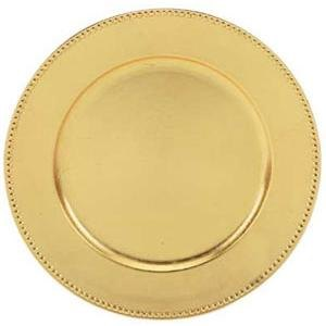 "Tabletop Classics TRG-6655 13"" Round Gold Polypropylene Charger Plate with Beaded Rim"