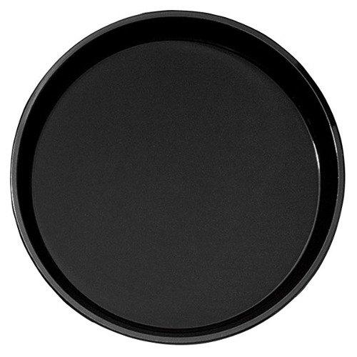 "Cambro PT1100110 Black 11"" Round Polytread Serving Tray"