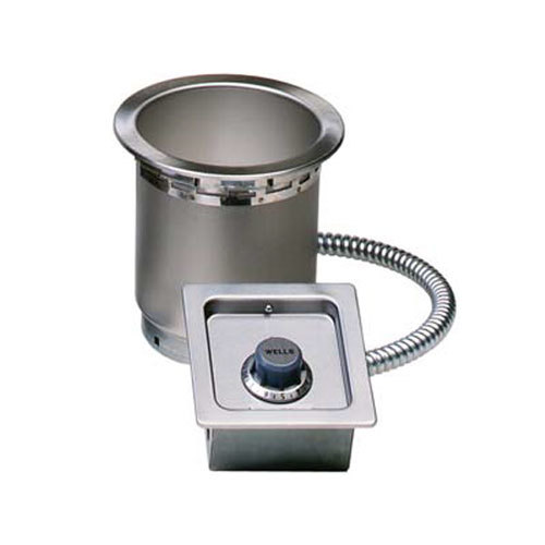 Wells 5P-SS4TDU 4 Qt. Round Drop-In Soup Well with Drain - Top Mount, Thermostatic Control, 208/240V Main Image 1