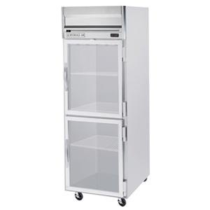 Beverage Air HF1-1HG-LED 1 Section Glass Half Door Reach-In Freezer - 24 cu. ft., Stainless Steel Front, Gray Exterior