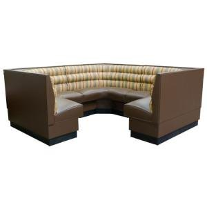 "American Tables & Seating AS-36HO-3/4 3/4 Circle Horizontal Channel Back Corner Booth - 36"" High"