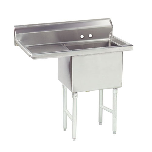 Left Drainboard Advance Tabco FS-1-1824-24 Spec Line Fabricated One Compartment Pot Sink with One Drainboard - 44 1/2""