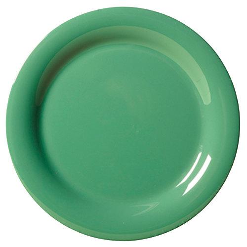 "GET NP-10-FG Diamond Mardi Gras 10 1/2"" Rainforest Green Narrow Rim Round Melamine Plate - 12/Case"