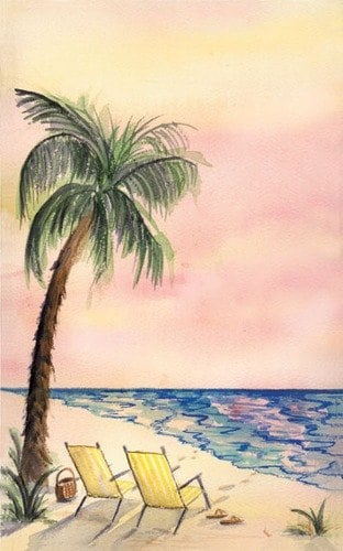 """8 1/2"""" x 11"""" Menu Paper - Tropical Themed Palm Tree Design Cover - 100/Pack"""