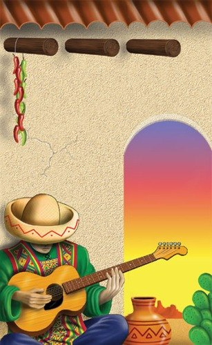 "8 1/2"" x 14"" Menu Paper - Southwest Themed Mariachi Design Cover - 100/Pack"