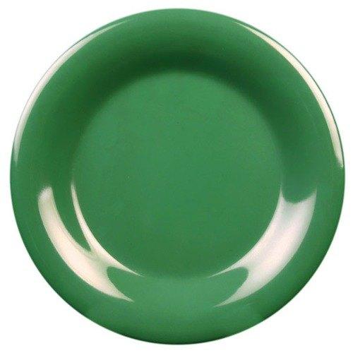 """Thunder Group CR006GR 6 1/2"""" Green Wide Rim Melamine Plate - 12/Pack"""