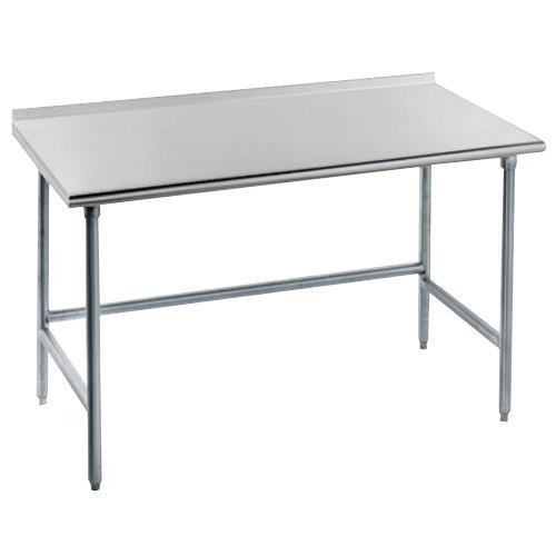 "Advance Tabco TFAG-367 36"" x 84"" 16 Gauge Super Saver Commercial Work Table with 1 1/2"" Backsplash"