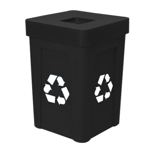 IRP 1070 Black Stacking Flat Lid Recycle Bin - 48 Gallon