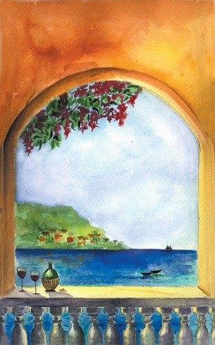 "8 1/2"" x 11"" Menu Paper Cover- Mediterranean Themed Villa Design - 100/Pack"