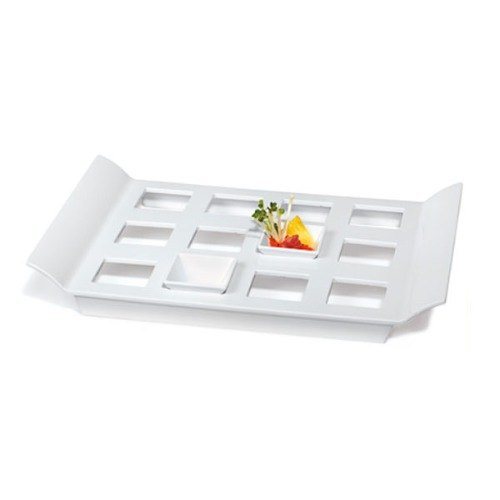 "GET ML-292-W San Michele Collection 18"" x 13"" White Melamine Display Tray with Square Slots"