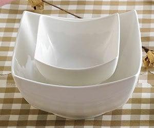 CAC SHA-B8 Sushia 64 oz. Super White Square Porcelain Bowl - 24/Case Main Image 1