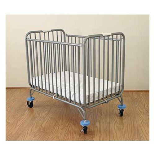 """L.A. Baby 884 24"""" x 38"""" Gray Deluxe Holiday Folding Crib with 3"""" Fire Retardant Mattress"""