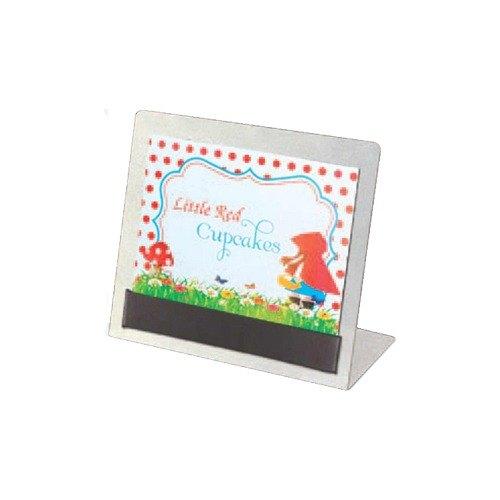 """Menu Solutions AL-BUF Alumitique 3 1/2"""" x 2 1/4"""" Aluminum Buffet Card Holder"""