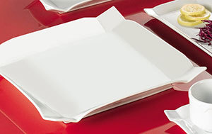 "CAC TMS-6 Times Square 6"" Bright White Square China Plate - 36/Case"