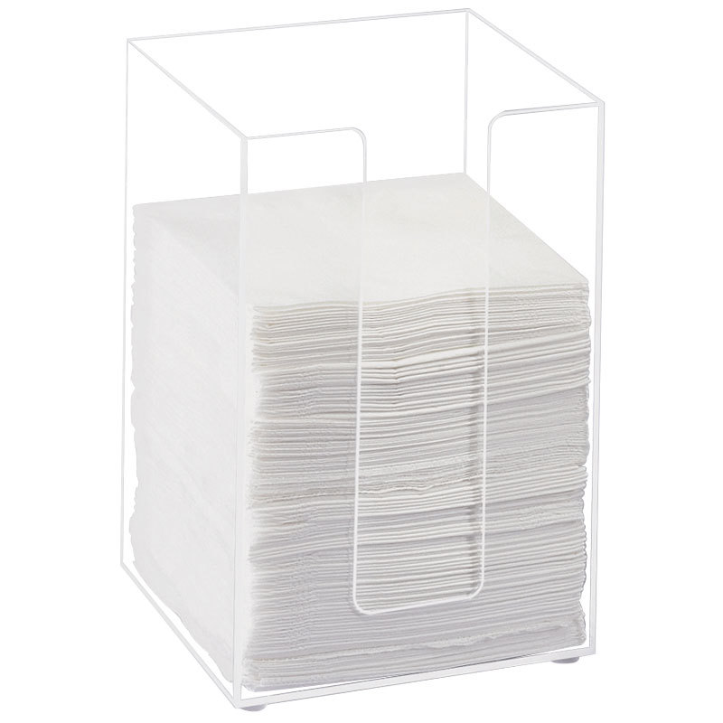 "Cal-Mil 635-12 Clear Acrylic Beverage Napkin Holder - 5 1/2"" x 5 1/2"" x 8"" Main Image 1"