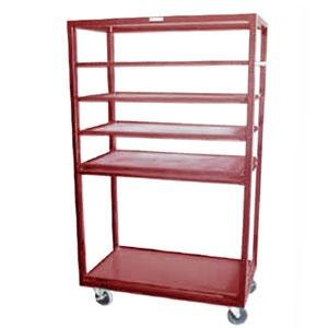 "Winholt DR-2443 Red 43"" x 24"" Merchandiser Rack with Four Flat Shelves and Flat Bottom Shelf Main Image 1"