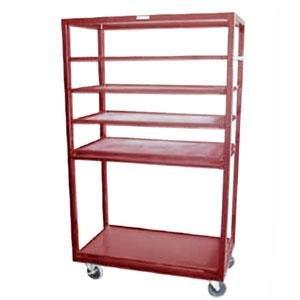 "Winholt DR-2443 Red 43"" x 24"" Merchandiser Rack with Four Flat Shelves and Flat Bottom Shelf Main Image 1"