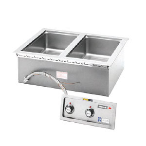 Wells 5P-MOD200TD Insulated Two Compartment Drop-In Hot Food Well with Thermostatic Controls and Drains - 208/240V Main Image 1