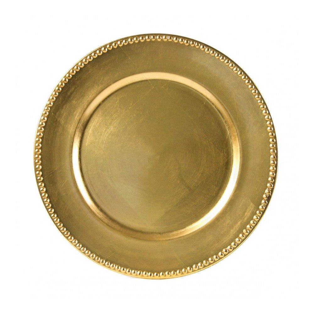 10 Strawberry Street LAG-24D 13 inch Beaded Rim Lacquer Round Gold Charger Plate  sc 1 st  WebstaurantStore & Acrylic Charger Plates