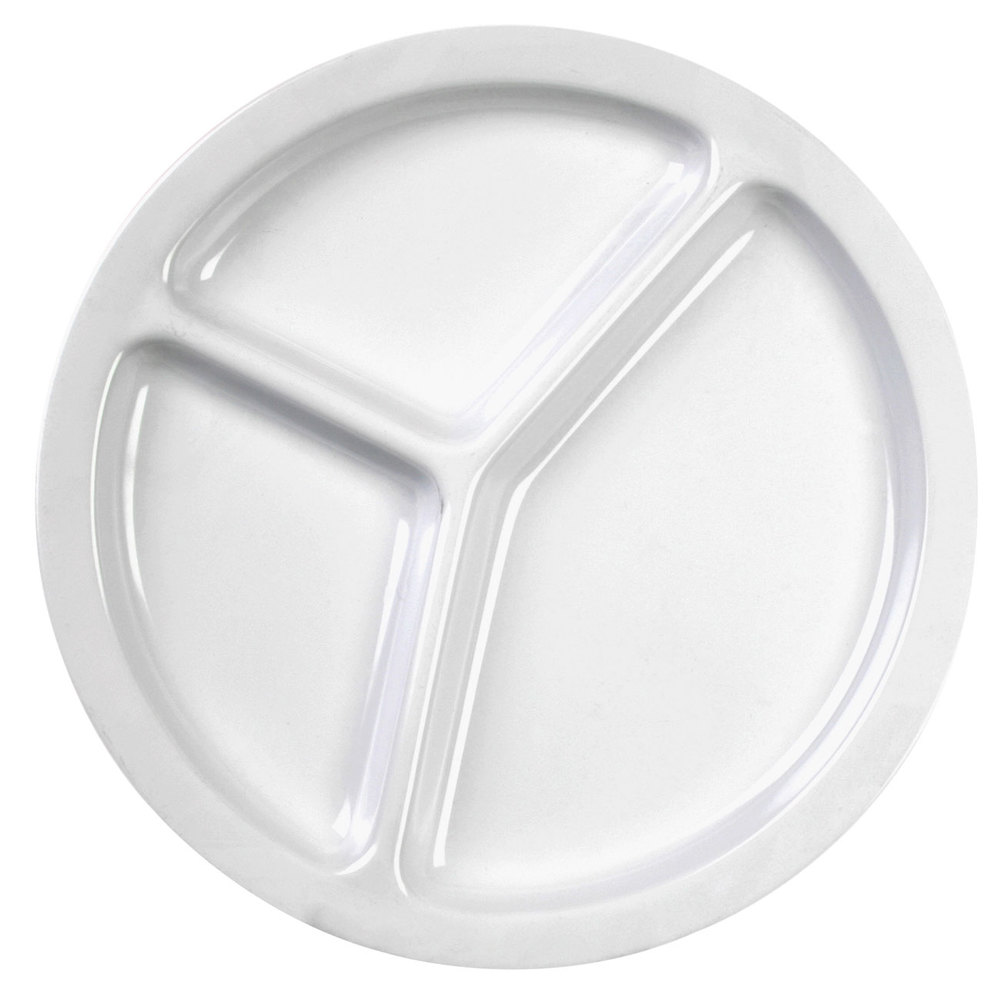 Thunder Group NS702W Nustone White Melamine 3 Compartment Plate 10 inch - 12/Pack  sc 1 st  WebstaurantStore & Compartment Plates - WebstaurantStore