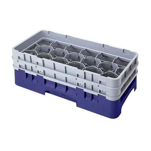 "Cambro 17HS434186 Camrack 5 1/4"" High Customizable Navy Blue 17 Compartment Half Size Glass Rack"