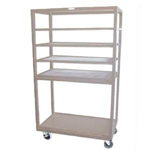 "Winholt DR-2443 Tan 43"" x 24"" Merchandiser Rack with Four Flat Shelves and Flat Bottom Shelf Main Image 1"