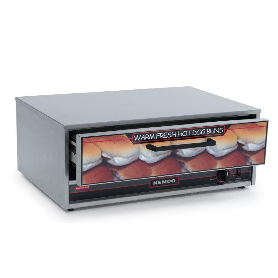 Nemco 8036 bw 220 moist heat hot dog bun warmer for 8036 - Hot dog roller grill with bun warmer ...