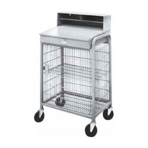 Winholt OTE-2227E1-GY Gray Steel Enclosed Wire Mesh Receiving / Shop Desk Main Image 1