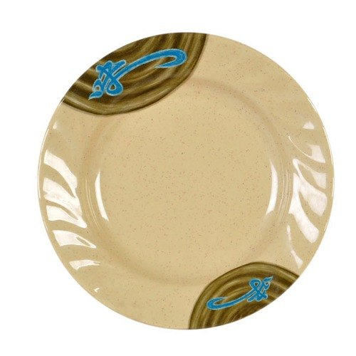 """Thunder Group 1207J Wei 7"""" Round Melamine Curved Rim Plate - 12/Pack"""