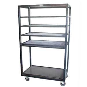 "Winholt DR-2443 Black 43"" x 24"" Merchandiser Rack with Four Flat Shelves and Flat Bottom Shelf Main Image 1"