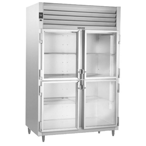 Traulsen RHT226WUT-HHG Stainless Steel 40.8 Cu. Ft. Two Section Glass Half Door Shallow Depth Reach In Refrigerator - Specification Line Main Image 1
