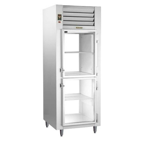 Traulsen RHT126WPUT-HHG Stainless Steel One Section Glass Half Door Shallow Depth Pass-Through Refrigerator - Specification Line Main Image 1