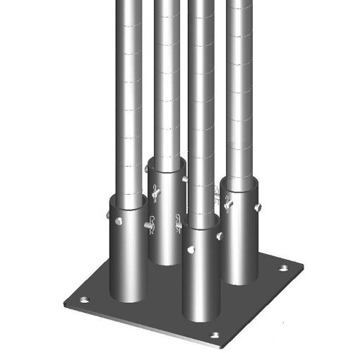 "Metro SASES25BP-4 Super Erecta 2 7/8"" x 11"" x 1/4"" Four-Post Seismic Bolt Plate Kit for Super Erecta / Super Adjustable / qwikSLOT Posts"