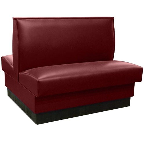 """American Tables & Seating QAD-42 42"""" Sangria Plain Double Back Fully Upholstered Booth - Quick Ship"""