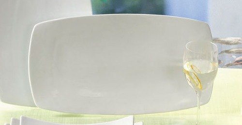 "CAC SHA-94 Sushia 16"" x 9 1/4"" Super White Rectangular Flat Porcelain Plate - 6/Case"