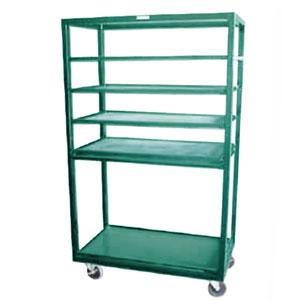 "Winholt DR-2443 Green 43"" x 24"" Merchandiser Rack with Four Flat Shelves and Flat Bottom Shelf Main Image 1"