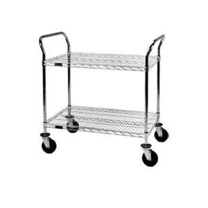 """Eagle Group U2-2436C 24"""" x 36"""" Chrome Heavy Duty Two Shelf Utility Cart"""