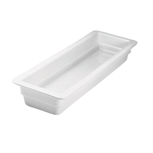 "Hall China 1015P0AWHA 1/2 Size Long 2 1/2"" Deep Bright White China Food Pan"