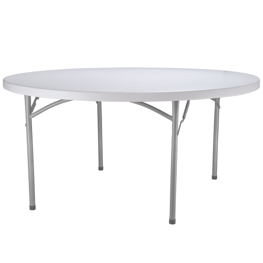 Lancaster Table U0026 Seating 60 Inch Round Heavy Duty Granite White Plastic  Folding Table ...