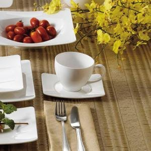 "CAC MDN-2 Modern 5 3/4"" x 4 1/2"" New Bone White Porcelain Saucer - 36/Case"