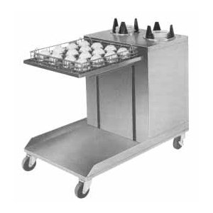 """APW Wyott Lowerator CTRS-2020-6 Mobile Open Combination 20"""" x 20"""" Glass Rack and 5 1/8"""" to 5 3/4"""" Saucer Dispenser"""