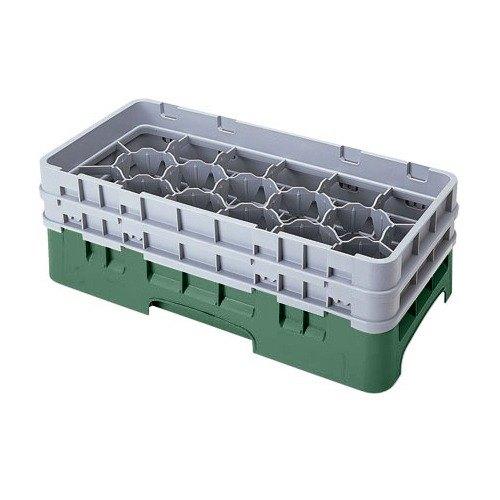 "Cambro 17HS638119 Camrack 6 7/8"" High Customizable Sherwood Green 17 Compartment Half Size Glass Rack"