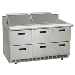 "Delfield STD4472N-24M 72"" 6 Drawer Mega Top Refrigerated Sandwich Prep Table with 4"" Backsplash"