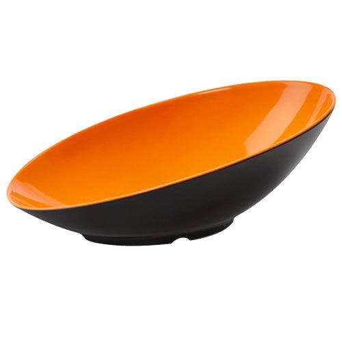 GET B-798-OR/BK Brasilia 2.5 Qt. Orange and Black Oval Melamine Bowl - 6/Case