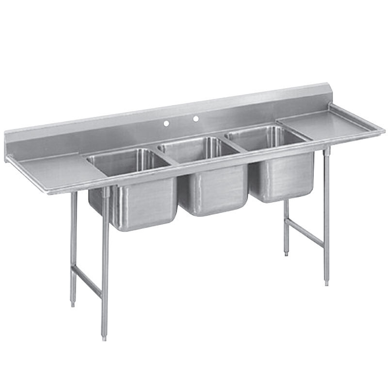 Faucet For 3 Compartment Sink : Tabco T9-3-54-18RL Three Compartment Stainless Steel Commercial Sink ...
