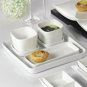 """CAC F-ST9 White Fortune 9 1/2"""" Square Porcelain Tasting Tray - 24/Case Main Image 1"""
