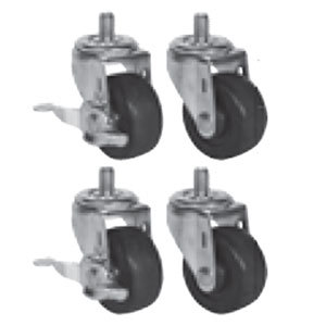 """Beverage Air 61C01-013A 3"""" Replacement Casters for H Series, P Series, DP 46, 67, and 93, and 32"""" Deep Undercounter / Worktop Units - 4/Set"""