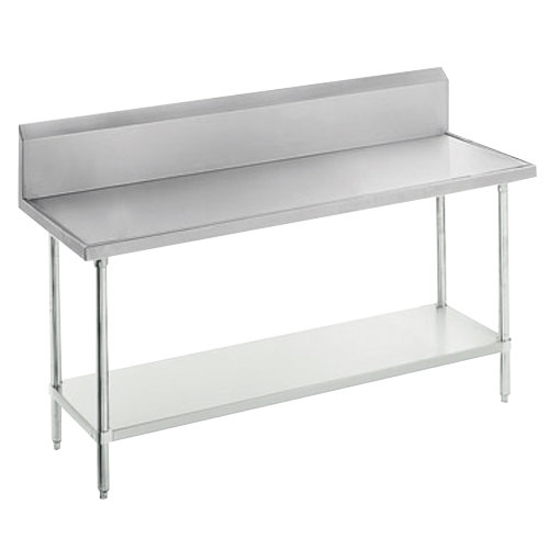 "Advance Tabco VKG-244 Spec Line 24"" x 48"" 14 Gauge Work Table with Galvanized Undershelf and 10"" Backsplash"