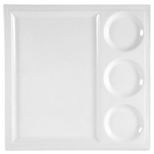 """CAC CTY-25 Citysquare 14"""" x 14"""" Bright White Porcelain Tray with 3 Bowl Holders - 12/Case"""