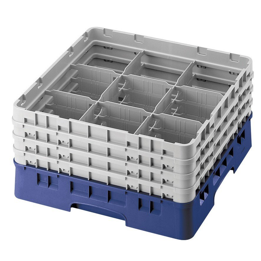 "Cambro 9S318186 Navy Blue Camrack Customizable 9 Compartment 3 5/8"" Glass Rack"